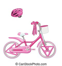 Cute kids bicycle for a girl and protective helmet. Vector illustration isolated on white background