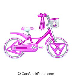 Cute kids bicycle for a girl vector illustration isolated on white background