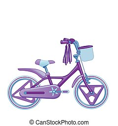 Cute kids bicycle. Vector illustration isolated on white background