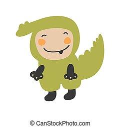 Cute Kids Character. Vector illustration kid wearing animal costumes. Crocodile costume child.