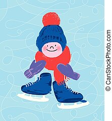 Cute kids character with skates