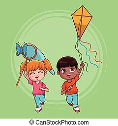 Cute kids couple cartoon - Cute kids couple having fun...
