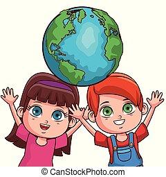 Cute kids couple cartoon - Cute kids couple saving the world...
