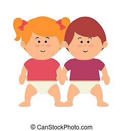 cute kids couple icon vector illustration design