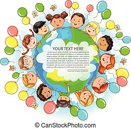 Cute kids different nationalities hold Earth balloons around and place for your text