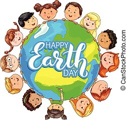 Cute kids different nationalities hold planet on happy Earth day