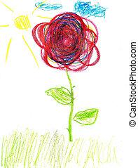Cute kids drawing of a flower