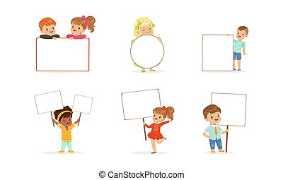 Cute Kids Holding Blank Banners Set, Little Boys and Girls with Empty Signboards Cartoon Vector Illustration