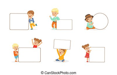 Cute Kids Holding Blank Banners Set, Little Boys and Girls with Empty Whiteboards Cartoon Vector Illustration