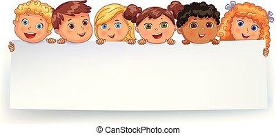 Cute kids holding blank white banner