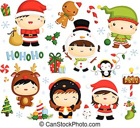 cute kids in christmas costume