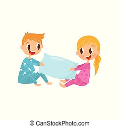 Cute kids in pajamas playing with pillow. Brother and sister having fun together. Happy childhood. Flat vector design