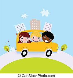 Cute kids in school bus on the hill