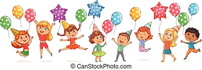 Cute kids joy balloons birthday