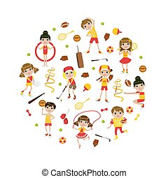 Cute Kids Kids Playing Various Sports in the Round Shape Vector Illustration