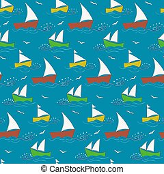 Cute kids pattern with waves and ships