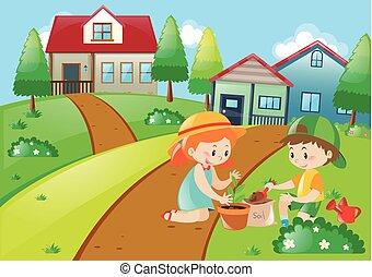 Cute kids planting trees