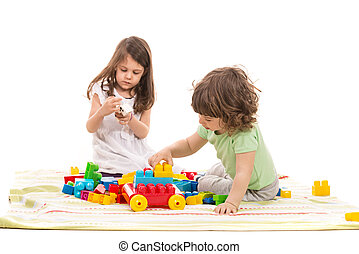 Cute kids playing home