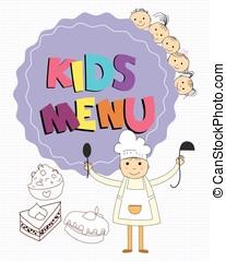 Cute kids restaurant menu