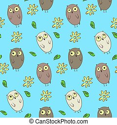 Cute kids seamless pattern with funny owls