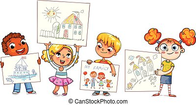Cute kids show their drawings drawn