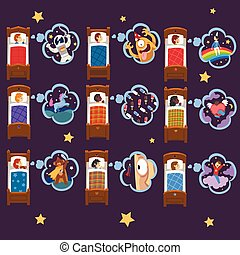 Cute Kids Sleeping in Beds and Dreaming Collection, Adorable Boys and Girls Having Sweet Dreams Vector Illustration