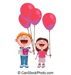 Cute kids with balloons