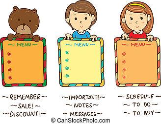 cute kids with blank board
