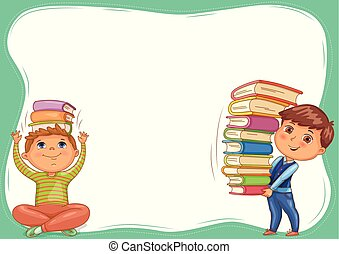 Cute kids with books blank banner