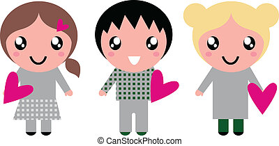 Cute Kids with pink Hearts isolated on white
