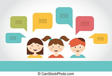 Cute kids with speech bubbles. vector illustration