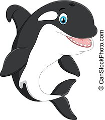 Cute killer whale cartoon - vector illustration of Cute...