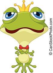 Cute king frog posing - Vector illustration of Cute king...