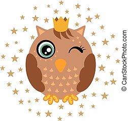 Cute king owl on stars