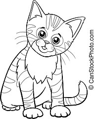 cute kitten cartoon animal character coloring book page