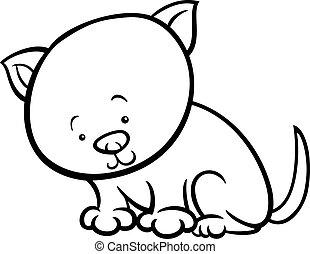 cute kitten cartoon coloring page