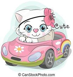 Cute Kitten Girl goes on the car