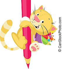 Cute Kitten Holding Huge Crayons - Funny Cartoon Illustration