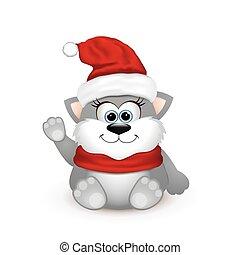 Cute kitten in Santa hat.
