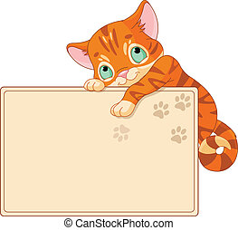 Cute kitten Invite or Placard - Cute kitten on a place card...