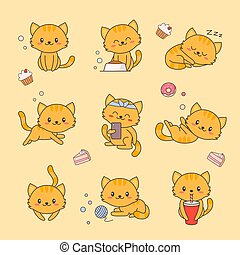 Cute Kitten Kawaii Character Sticker Set. Cat with Anime Face Various Emoji Design for Doodle. Comic Animal Love Element Kit for Children. Funny Pet Icon Flat Cartoon Vector Illustration