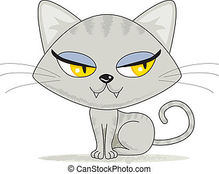 Cute Kitten Looking - Cute gray female tabby kitten looking...
