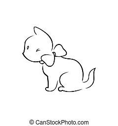 Cute kitten silhouette on white