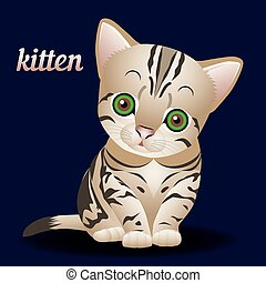 Cute kitten striped, with big green eyes, cartoon on dark blue background,