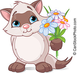 Cute kitten with flowers - Vector illustration of cute ...