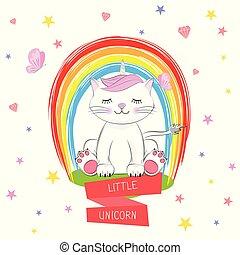 Cute kitty and inscription Little Unicorn.