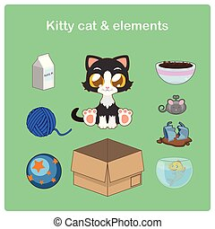 Cute kitty cat with relevant items