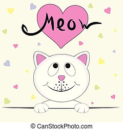 Cute kitty girl saying Meow. Graphics for t-shirts. Greeting...