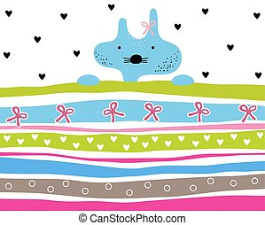 Cute kitty girl striped background with hearts and ribbons
