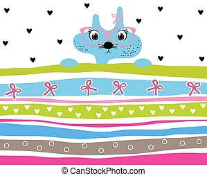 Cute kitty girl wearing glasses striped background with hearts and ribbons
